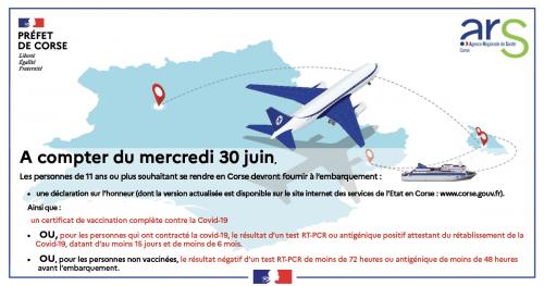 attestation vaccin- attestation covid - pass sanitaire Voyage en Corse